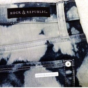Rock & Republic Shorts - Acid washed high waisted denim shorts bleached out
